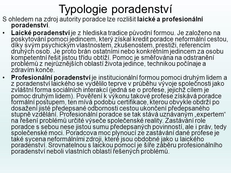 Typologie poradenství