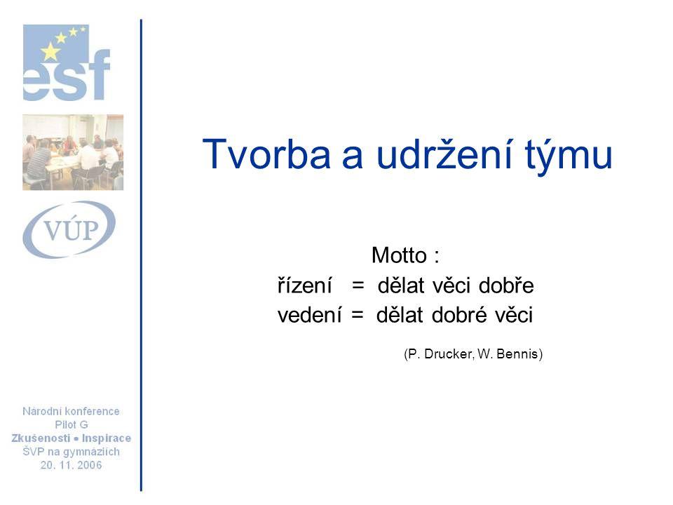 Tvorba a udržení týmu Motto : řízení = dělat věci dobře