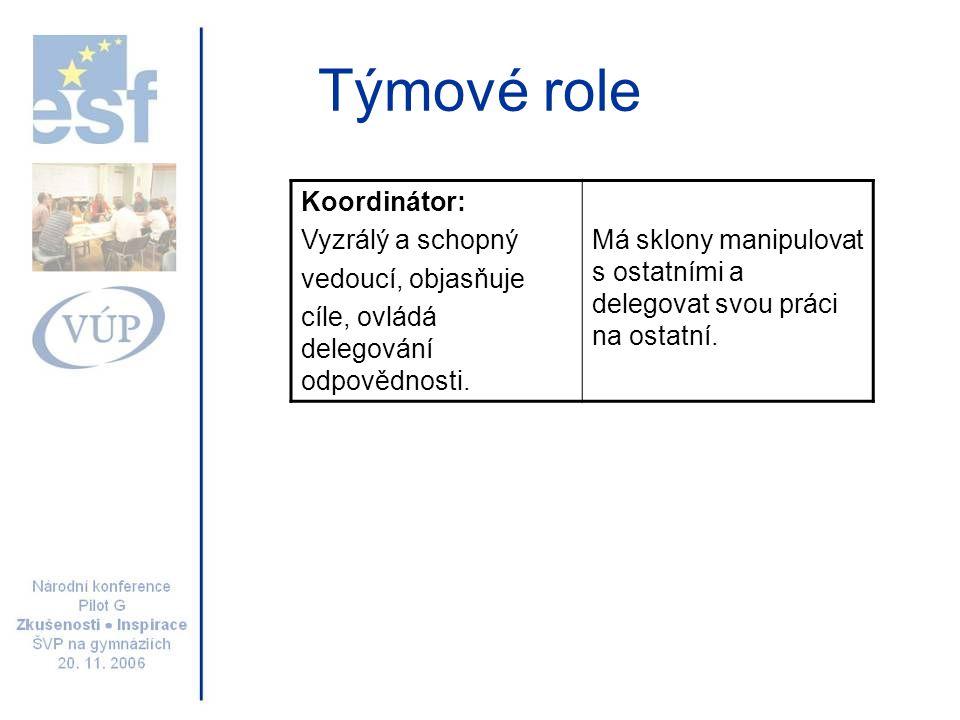 Týmové role Koordinátor: Vyzrálý a schopný vedoucí, objasňuje