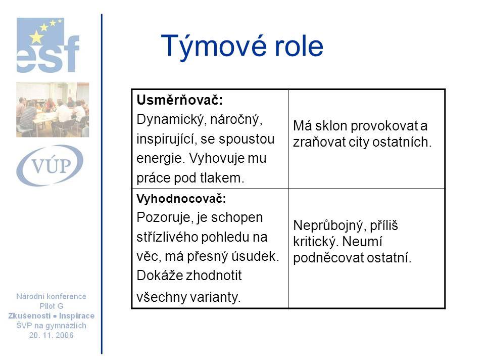 Týmové role Usměrňovač: Dynamický, náročný,