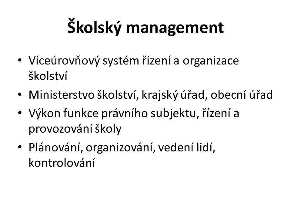 Školský management Víceúrovňový systém řízení a organizace školství