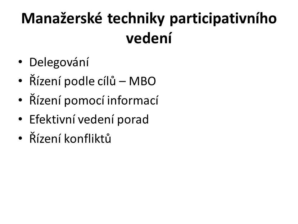 Manažerské techniky participativního vedení