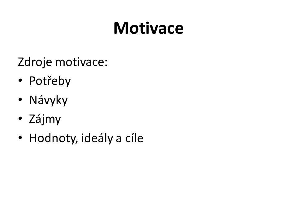 Motivace Zdroje motivace: Potřeby Návyky Zájmy Hodnoty, ideály a cíle