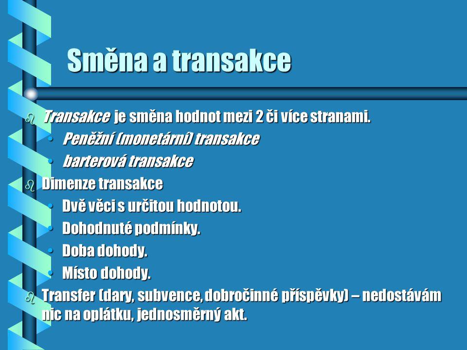 Směna a transakce Transakce je směna hodnot mezi 2 či více stranami.