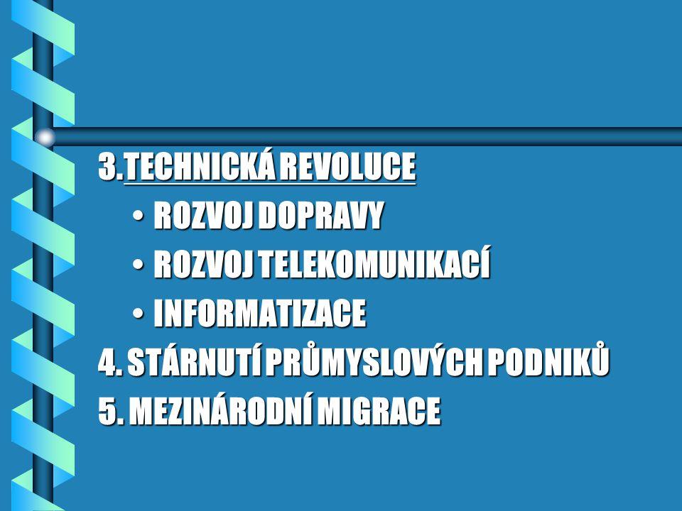 3.TECHNICKÁ REVOLUCE ROZVOJ DOPRAVY. ROZVOJ TELEKOMUNIKACÍ. INFORMATIZACE. 4. STÁRNUTÍ PRŮMYSLOVÝCH PODNIKŮ.