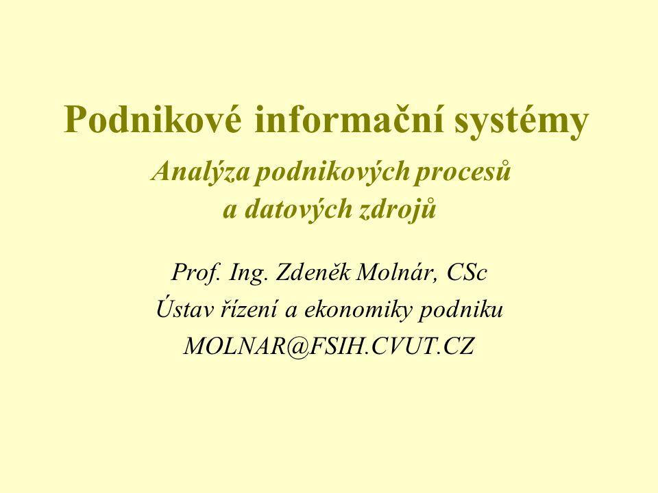Podnikové informační systémy Analýza podnikových procesů a datových zdrojů