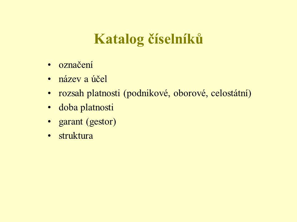 Katalog číselníků označení název a účel