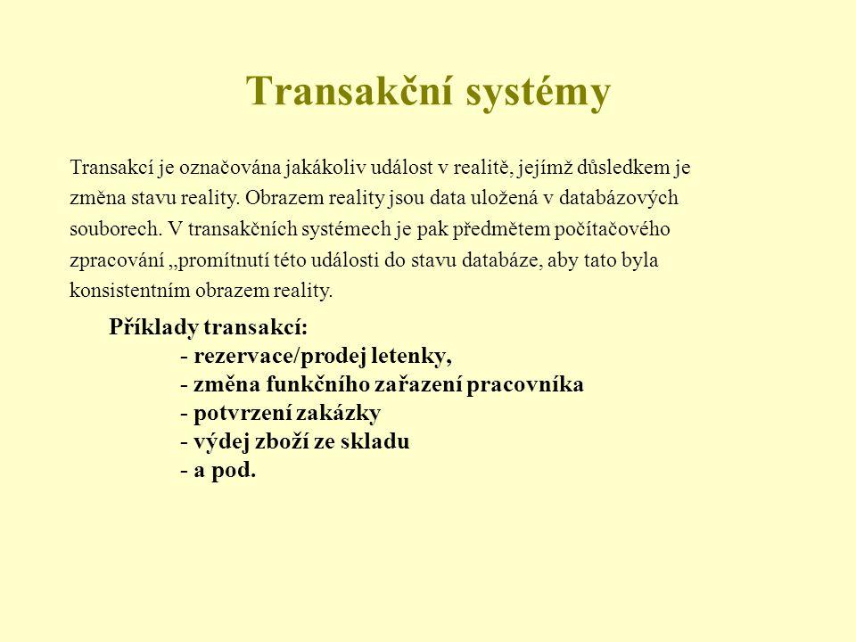 Transakční systémy Příklady transakcí: - rezervace/prodej letenky,