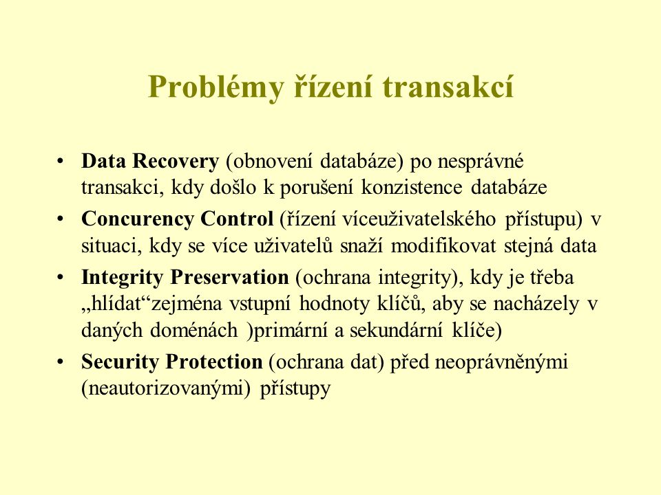 Problémy řízení transakcí