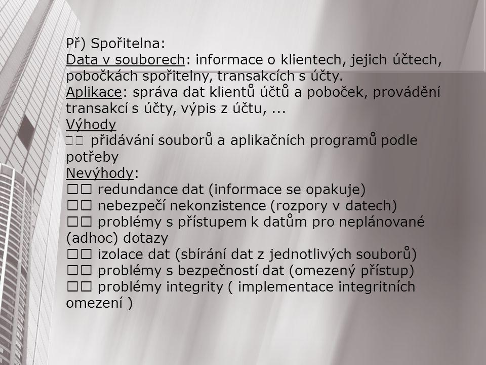Př) Spořitelna: Data v souborech: informace o klientech, jejich účtech, pobočkách spořitelny, transakcích s účty.