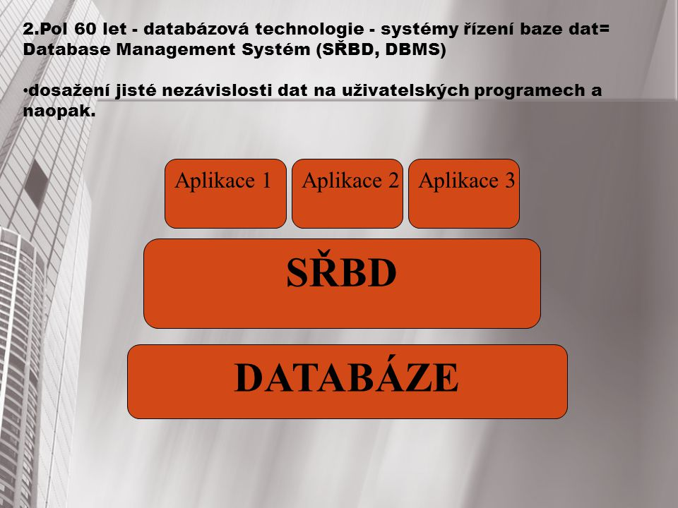 SŘBD DATABÁZE Aplikace 1 Aplikace 2 Aplikace 3