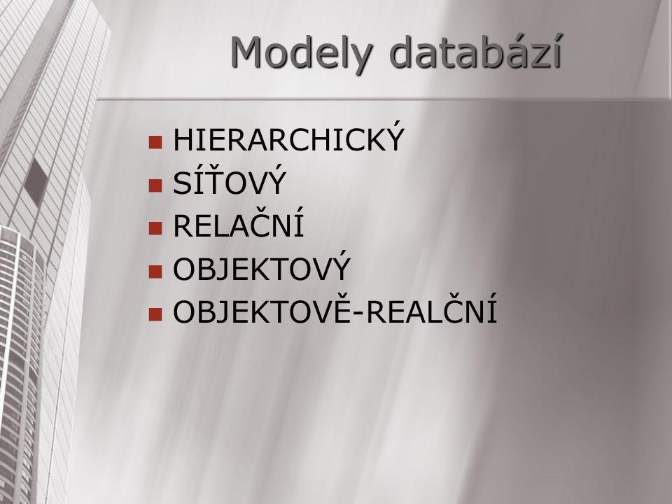 Modely databází HIERARCHICKÝ SÍŤOVÝ RELAČNÍ OBJEKTOVÝ