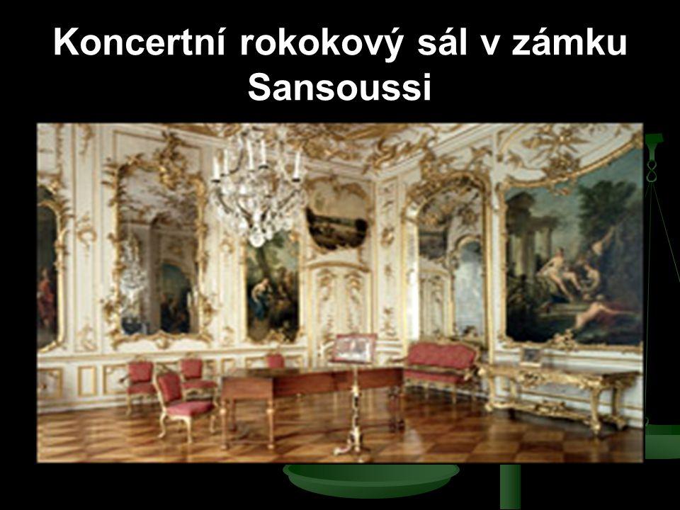 Koncertní rokokový sál v zámku Sansoussi