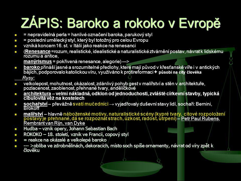 ZÁPIS: Baroko a rokoko v Evropě