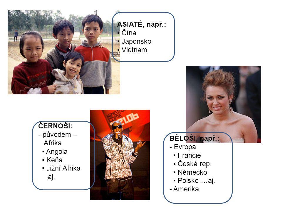 ASIATÉ, např.: ▪ Čína. ▪ Japonsko. ▪ Vietnam. ČERNOŠI: - původem – Afrika. ▪ Angola. ▪ Keňa.