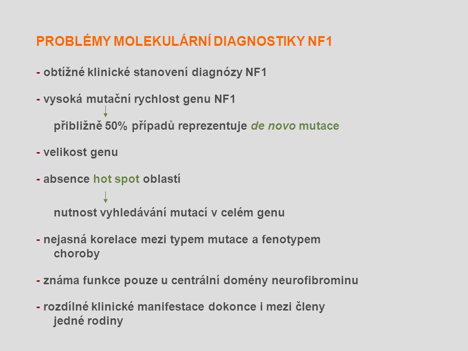 PROBLÉMY MOLEKULÁRNÍ DIAGNOSTIKY NF1