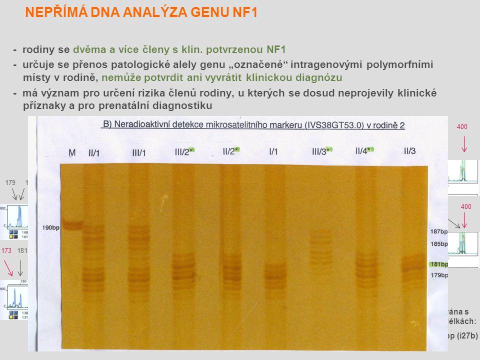 NEPŘÍMÁ DNA ANALÝZA GENU NF1