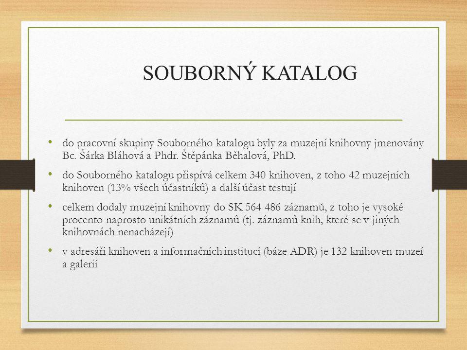 SOUBORNÝ KATALOG do pracovní skupiny Souborného katalogu byly za muzejní knihovny jmenovány Bc. Šárka Bláhová a Phdr. Štěpánka Běhalová, PhD.