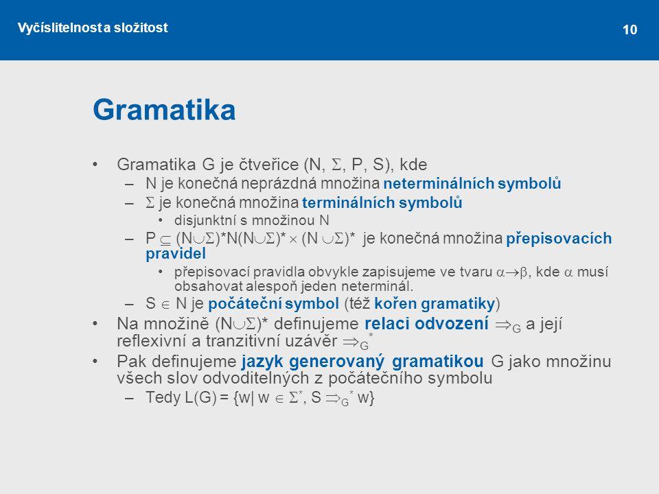 Gramatika Gramatika G je čtveřice (N, , P, S), kde