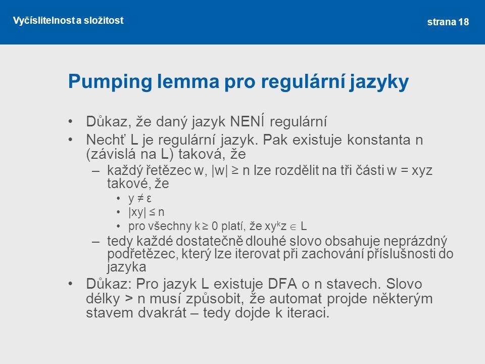 Pumping lemma pro regulární jazyky