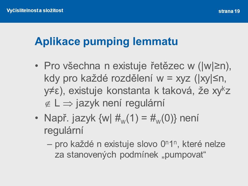 Aplikace pumping lemmatu