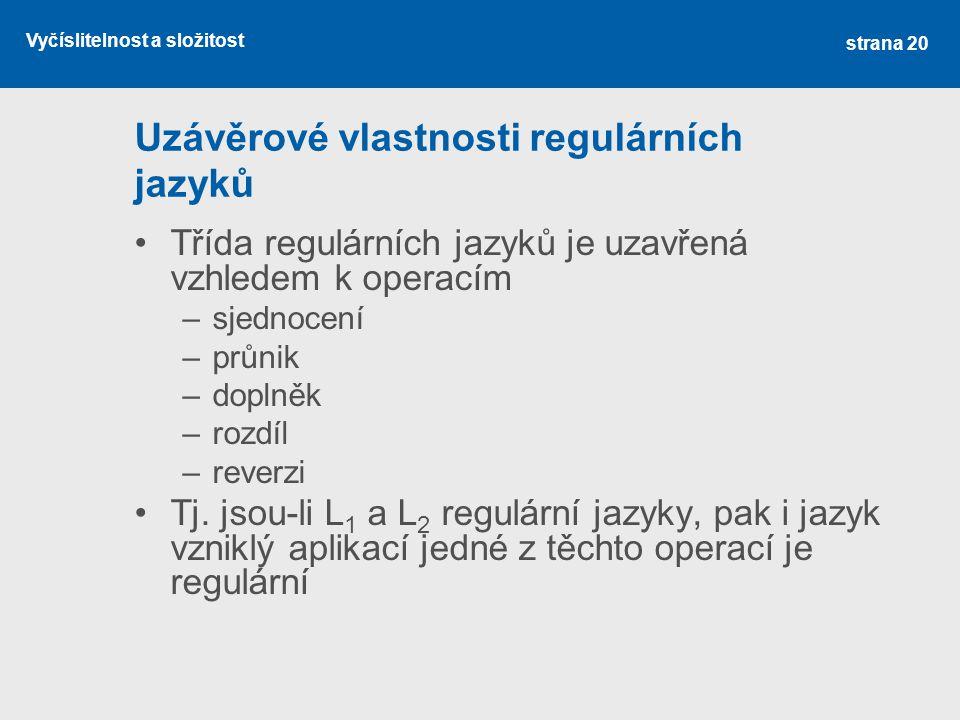 Uzávěrové vlastnosti regulárních jazyků