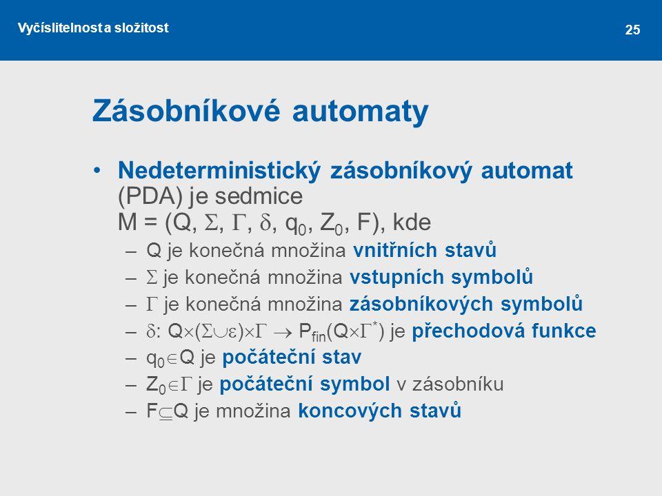 Zásobníkové automaty Nedeterministický zásobníkový automat (PDA) je sedmice M = (Q, , , , q0, Z0, F), kde.