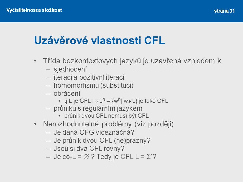 Uzávěrové vlastnosti CFL