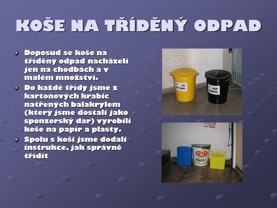 KOŠE NA TŘÍDĚNÝ ODPAD Doposud se koše na tříděný odpad nacházeli jen na chodbách a v malém množství.