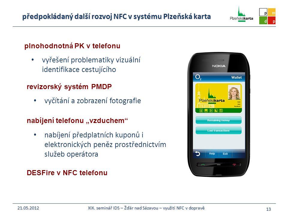 předpokládaný další rozvoj NFC v systému Plzeňská karta