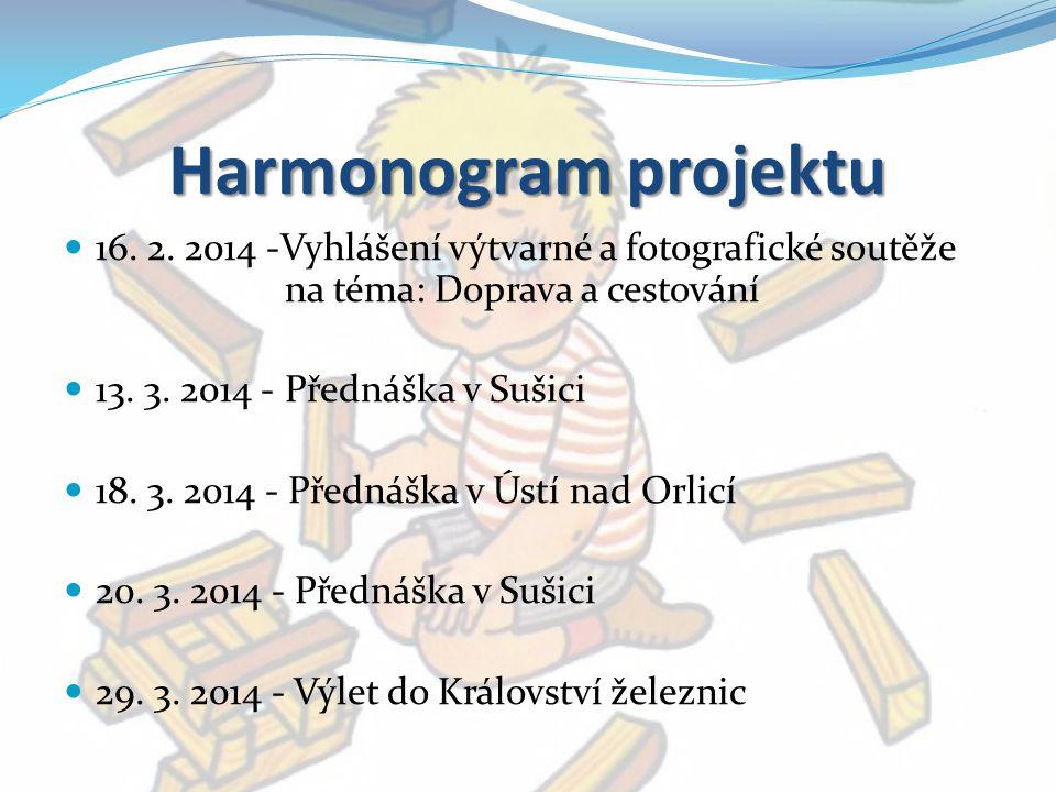 Harmonogram projektu 16. 2. 2014 -Vyhlášení výtvarné a fotografické soutěže na téma: Doprava a cestování.