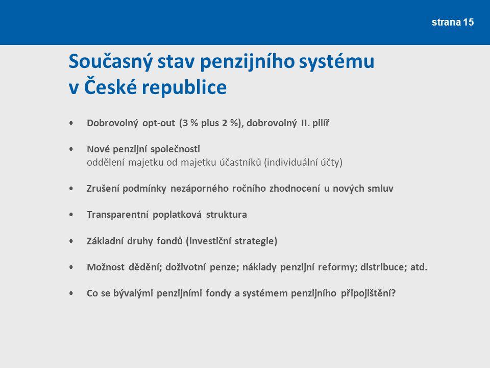 Současný stav penzijního systému v České republice
