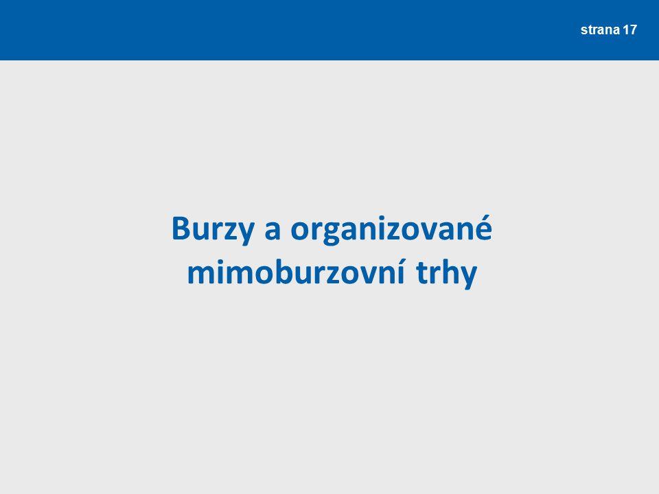 Burzy a organizované mimoburzovní trhy