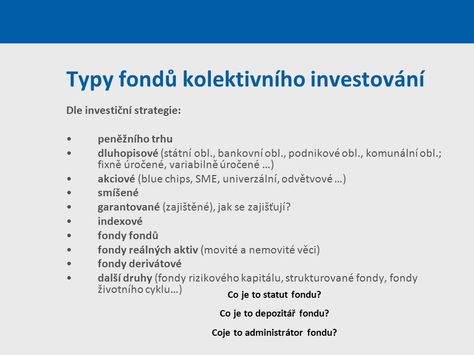 Typy fondů kolektivního investování