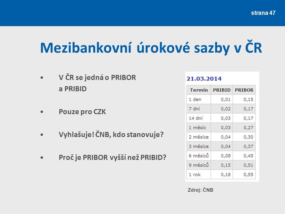 Mezibankovní úrokové sazby v ČR