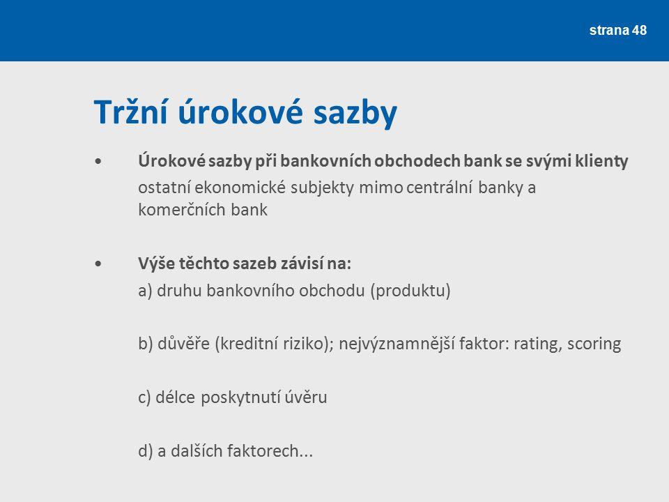 Tržní úrokové sazby Úrokové sazby při bankovních obchodech bank se svými klienty. ostatní ekonomické subjekty mimo centrální banky a komerčních bank.