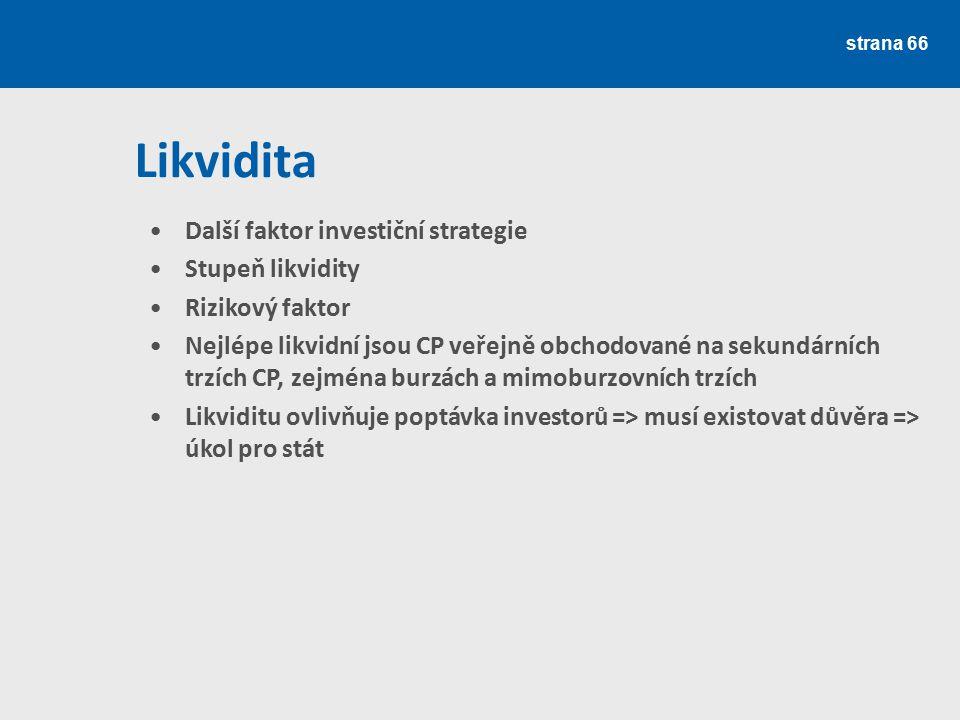 Likvidita Další faktor investiční strategie Stupeň likvidity