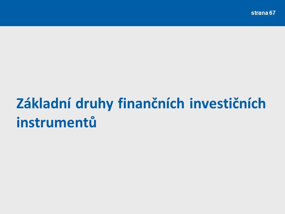 Základní druhy finančních investičních instrumentů