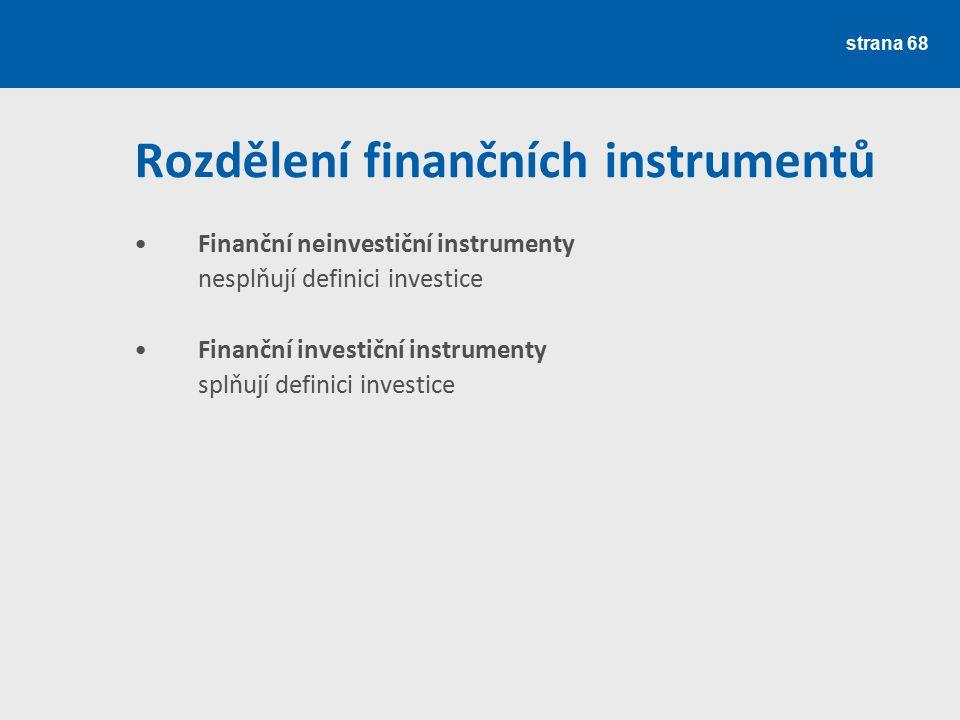 Rozdělení finančních instrumentů