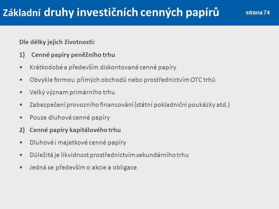 Základní druhy investičních cenných papírů