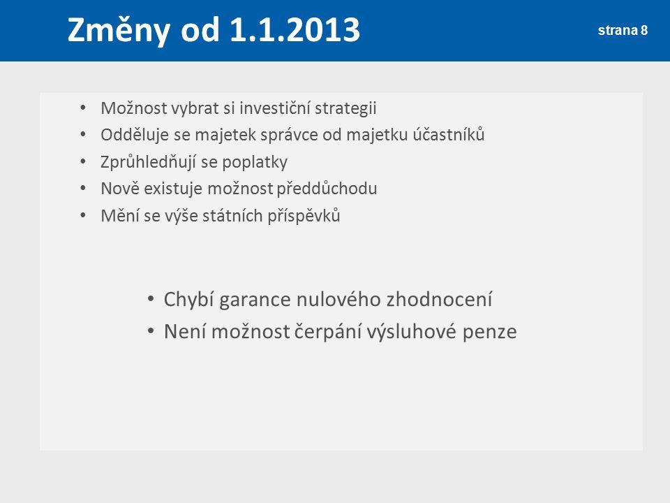 Změny od 1.1.2013 Chybí garance nulového zhodnocení