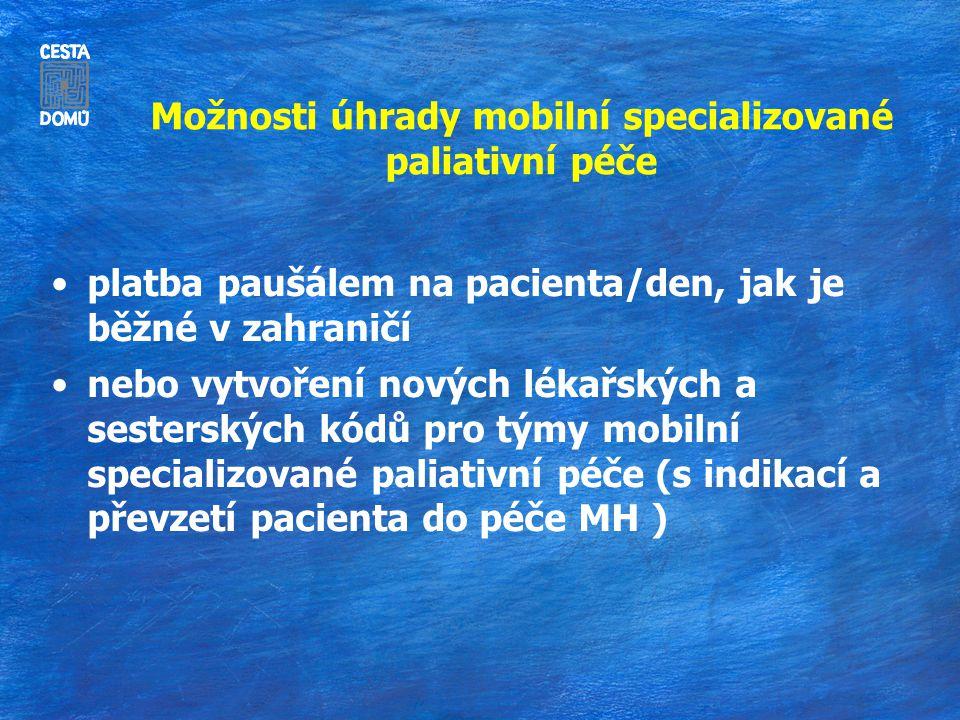 Možnosti úhrady mobilní specializované paliativní péče