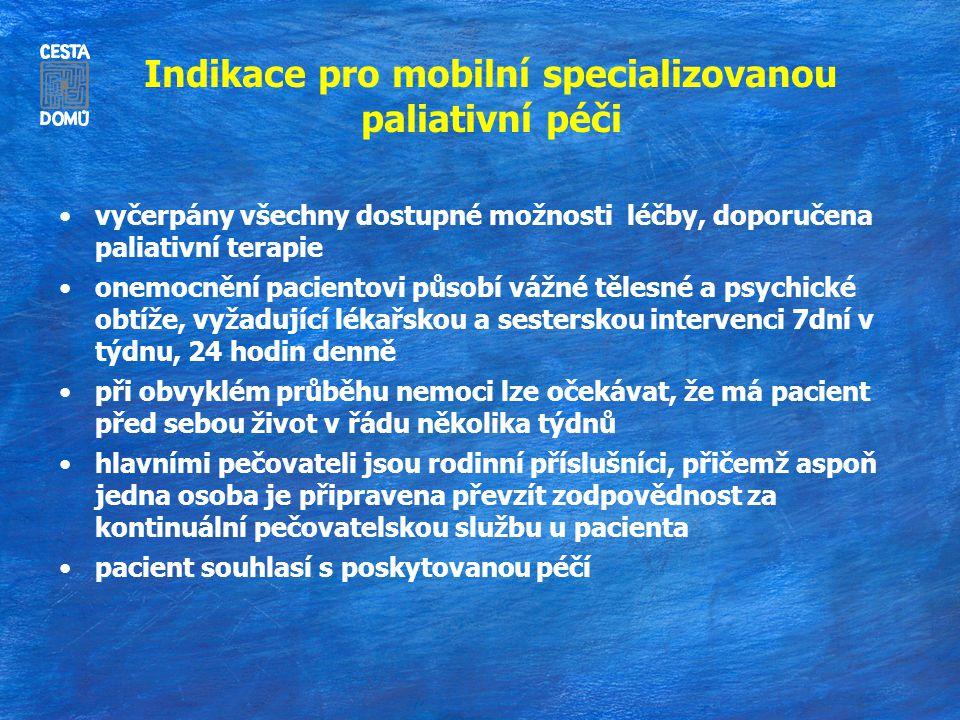 Indikace pro mobilní specializovanou paliativní péči