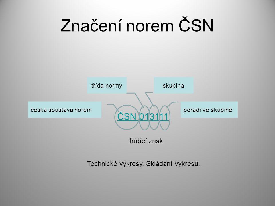 Značení norem ČSN ČSN 013111 třídící znak