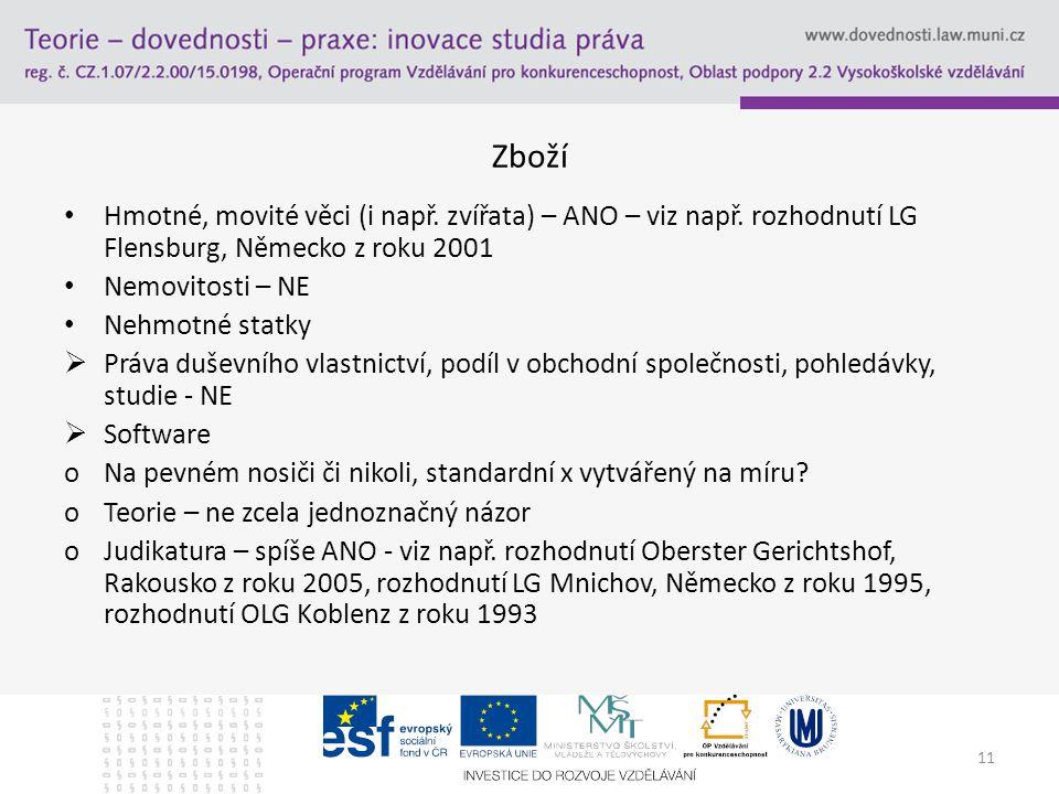 Zboží Hmotné, movité věci (i např. zvířata) – ANO – viz např. rozhodnutí LG Flensburg, Německo z roku 2001.