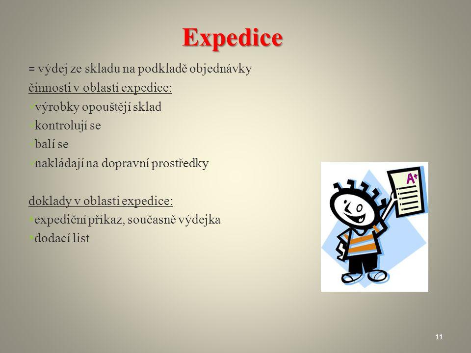 Expedice = výdej ze skladu na podkladě objednávky