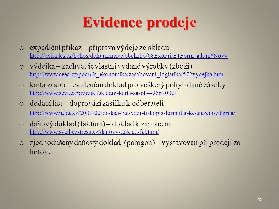 Evidence prodeje expediční příkaz – příprava výdeje ze skladu http://extra.lcs.cz/helios/dokumentace/obehzbo/08ExpPri/E1Form_a.htm#Novy.