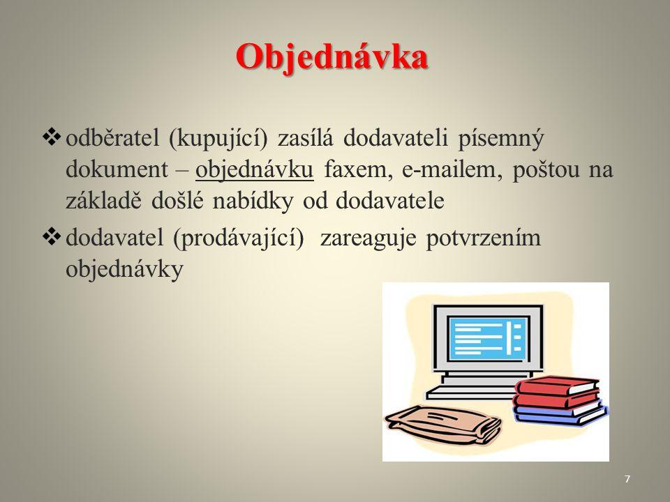 Objednávka odběratel (kupující) zasílá dodavateli písemný dokument – objednávku faxem, e-mailem, poštou na základě došlé nabídky od dodavatele.