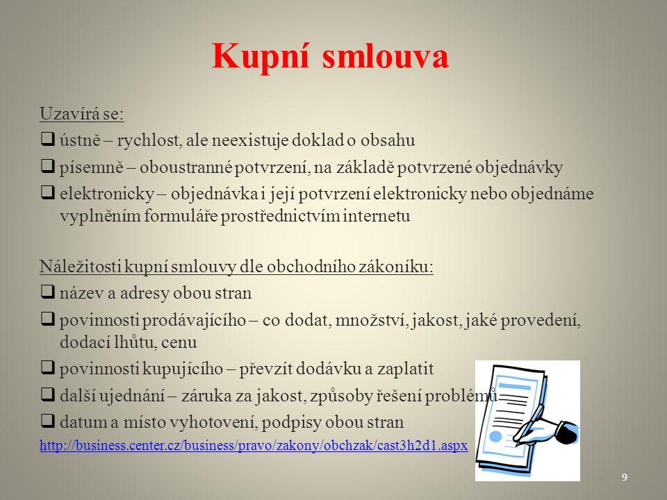 Kupní smlouva Uzavírá se: