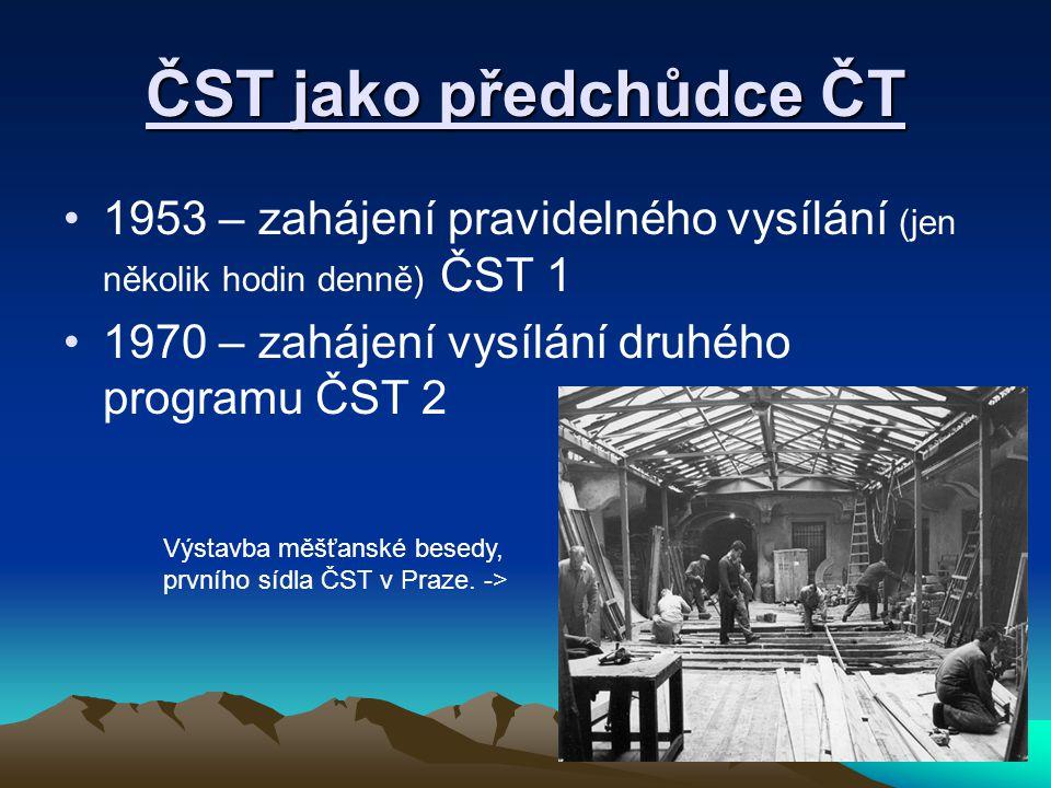 ČST jako předchůdce ČT 1953 – zahájení pravidelného vysílání (jen několik hodin denně) ČST 1. 1970 – zahájení vysílání druhého programu ČST 2.